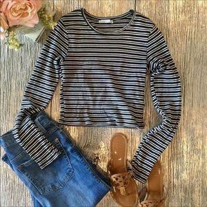 Zara Trafaluc Stripe Long Sleeve Crop Top Sz S
